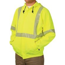 National Safety Apparel<sup>®</sup> C21HC05-C3 FR Class 3 Hi-Viz Hooded Zip Front Sweatshirts
