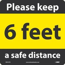 National Marker Company<sup>®</sup> WFS73TX Walk on Floor Sign: Keep a Safe Distance
