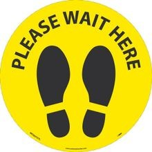National Marker Company<sup>®</sup> WFS83TXYL10 Walk on Floor Sign: Please Wait Here Foot Print