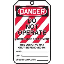 Accuform® MLT401 Safety Tags: DANGER DO NOT OPERATE MAINTENANCE DEPARTMENT