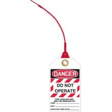 Accuform<sup>®</sup> TAK631 Loop 'n Lock™ Tie Tag: DANGER DO NOT OPERATE - THIS TAG MAY ONLY BE REMOVED BY (LOTO)