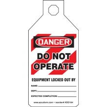 Accuform<sup>®</sup> STOPOUT<sup>®</sup> KDD164 Tab Tag: DANGER DO NOT OPERATE EQUIPMENT LOCKED OUT BY (LOTO)