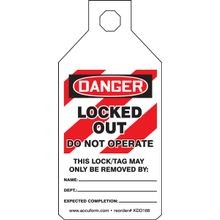 Accuform<sup>®</sup> STOPOUT<sup>®</sup> KDD166 Tab Tag: DANGER LOCKED OUT DO NOT OPERATE (LOTO)