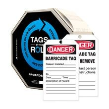 Accuform® TAR158 Tags By-The-Roll: DANGER BARRICADE TAG