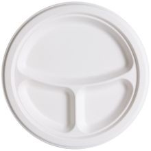 Eco-Products® Compostable White Round 3-Compartment 9
