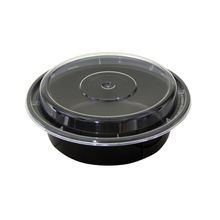Pactiv® VERSAtainer® 16 oz Black Round Microwavable Container Combo Pack (NC718B)