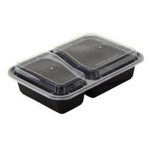 Pactiv® VERSAtainer® 30 oz 2 Section Black Rectangle Microwavable Container Combo Pack (NC8288B)