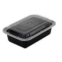 Pactiv® VERSAtainer® 24 oz Black Rectangle Microwavable Container Combo (NC838B)
