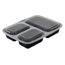 Pactiv® VERSAtainer® 32 oz 3 Section Black Microwavable Container Combo Pack (NC333B)