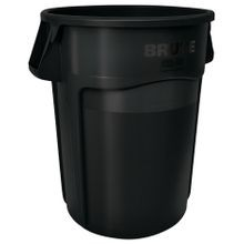 Rubbermaid Commercial® Brute® 44 Gallon Black Garbage Can with Venting Channels (264360)