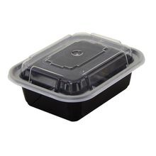 Pactiv® VERSAtainer® 12 oz Black Rectangular Microwavable Container Combo (NC818B)