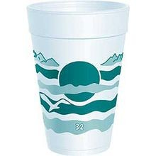 DART® Teal Horizon 32 oz Foam Cups (32LX32H)