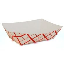 #300 Southland™ Waxed Red Check 3 LBS Food Tray (0425)