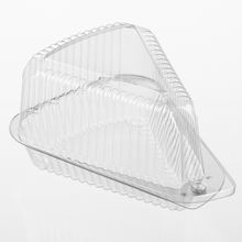 Par-Pak® Clear Medium Single Serve Pie Slice Hinged Plastic Container (3210)