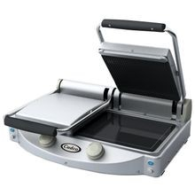 Cadco CPG-20 Double Panini Grill, black glass-ceramic grill surfaces, ribbed top plates, smooth bottom plates, (2) 9-7/8