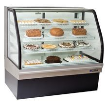 Master Bilt CGB-50 Bakery Merchandiser, self-contained refrigeration, curved glass, rear air intake and discharge, (3) adjustable white wire shelves