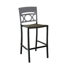 Grosfillex US456579 Moon Stacking Barstool, armless, design resined for outdoor use, wrought-iron design resin back, aluminum seat and frame