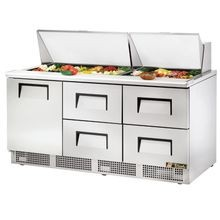 TRUE TFP-72-30M-D-4 Sandwich/Salad Unit, three section, self-contained, (30) 1/6 size (4