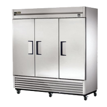 TRUE TS-72-HC Refrigerator, Reach-in, three-section, (3) stainless steel doors, stainless steel front/sides, stainless steel interior, (9) gray PVC