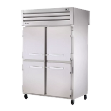 TRUE STR2RPT-4HS-2S-HC SPEC SERIES Pass-thru Refrigerator, two-section, stainless steel front & sides, (4) stainless steel half doors front