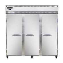 Continental 3R Refrigerator, reach-in, three-section, self-contained refrigeration, stainless steel front, aluminum interior & ends, standard depth