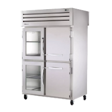 TRUE STR2RPT-2HG/2HS-2G-HC SPEC SERIES Pass-thru Refrigerator, two-section, stainless steel front & sides, (2) glass & (2) stainless steel half