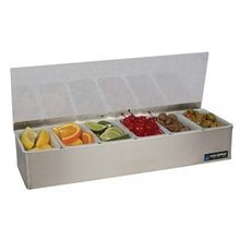 CONDIMENT HOLDER S/S WITH PLEXIGLAS LID 6 COMPARTMENT