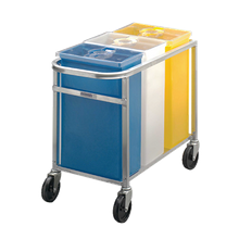 Channel 123P Ingredient Bin Set, (3) bins (white, yellow, blue), 50 lbs. capacity per bin, clear plastic covers, welded aluminum cart, 5