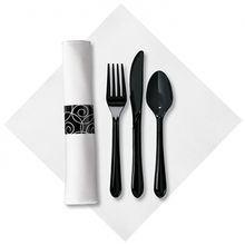 CUTLERY KIT HEAVY BLACK K/F/S LINEN-LIKE NAPKIN (100)