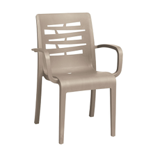 Grosfillex US118181 Essenza Stacking Armchair, designed for outdoor use, air molding technology resin, nylon footpads, recyclable, ASTM and BIFMA