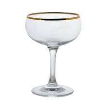 Steelite 480142R352 Paris Champagne Glass, 8 oz., (H 5-1/8; M 3-5/8; T 3-3/8; B 2-7/8), coupe, gold rim, Rona, Gold Miners (24 ea/cs)