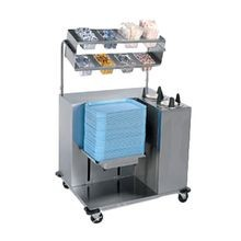 Lakeside 2620 Tray Starter Station, mobile, tray dispenser, (2) plate dispensers, stainless steel cutouts in overshelves hold 1/4 size food pans (not