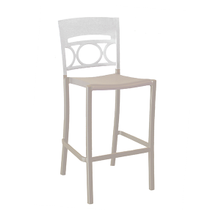 Grosfillex US456096 Moon Stacking Barstool, armless, design resined for outdoor use, wrought-iron design resin back, aluminum seat and frame