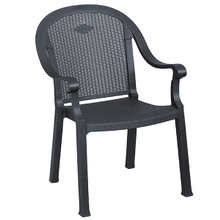 Grosfillex 99720002 Sumatra Classic Stacking Dining Armchair, designed for outdoor use, Kevring resin with synthetic metal texture finish, charcoal