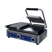 Globe GSGDUE10 Bistro Panini Grill, double, countertop, electric, cast iron smooth plates, 18