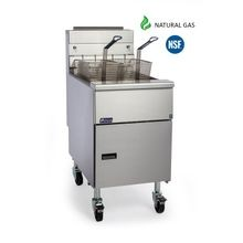 Pitco Frialator SG18-S Natural Gas Floor Fryer can hold 70 - 90 lb. oil capacity, making it an ideal option for large commercial kitchens.