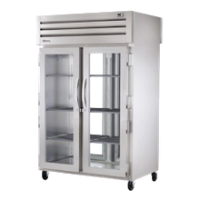 TRUE STR2RPT-2G-2G-HC SPEC SERIES Pass-thru Refrigerator, two-section, stainless steel front & sides, (2) glass doors front & rear with locks