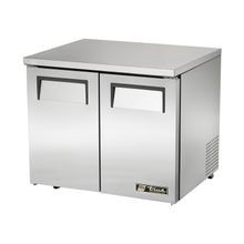TRUE TUC-36-LP-HC Low Profile Undercounter Refrigerator, 33-38 F, stainless steel top & sides, (2) stainless steel doors, (4) shelves, aluminum