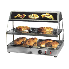 Equipex WDL-200 Sodir Tudor Display Warmer, countertop, 2 shelf, stainless steel construction, plexiglass top & doors, concealed light fixture in
