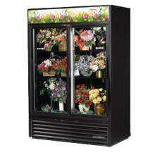 TRUE GDM-47FC-HC-LD Floral Merchandiser, two-section, (4) adjustable shelves, laminated vinyl exterior, black interior with stainless steel floor