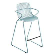 Grosfillex US139711 Ramatuelle '73 Barstool, stackable, lattice design resin back, solid resin seat, powder-coated steel legs, footrest