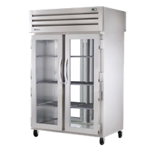 TRUE STA2RPT-2G-2S-HC SPEC SERIES Pass-thru Refrigerator, two-section, stainless steel front & sides, (2) glass doors front, (2) stainless steel