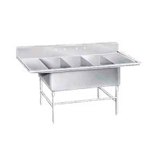 Advance Tabco K7-3-3024-24RL Super Size Fabricated Sink, 3-compartment, with left & right-hand drainboards, 24