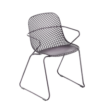 Grosfillex US137713 Ramatuelle '73 Armchair, stackable, lattice design resin back, solid resin seat, powder-coated steel legs UV and weather resistant