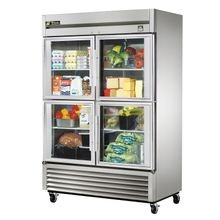 TRUE TS-49G-4 Refrigerator, Reach-in, two-section, (4) glass half doors, stainless steel front/sides, stainless steel interior, (6) gray PVC coated