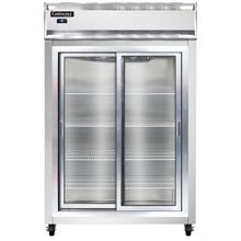 Continental 2R-SGD Refrigerator, reach-in display, two-section, self-contained refrigeration, aluminum exterior & interior, stainless steel front