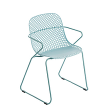 Grosfillex US137711 Ramatuelle '73 Armchair, stackable, lattice design resin back, solid resin seat, powder-coated steel legs UV and weather resistant