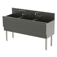 Perlick TSD543CA TSD Series Extra Capacity Underbar Sink Unit, three compartment, 54