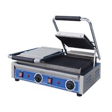 Globe GPGDUE10 Bistro Panini Grill, double, countertop, electric, cast iron grooved plates, 18