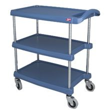 UTILITY CART 16X27 3-TIER BLUE HD PLASTIC 400# CAP NSF